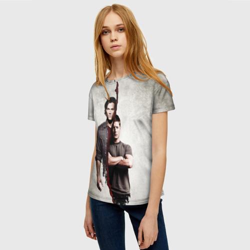Женская 3D футболка с принтом Winchester Brothers, фото на моделе #1