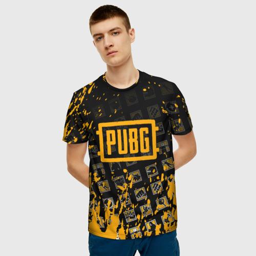 Мужская 3D футболка с принтом PUBG, фото на моделе #1
