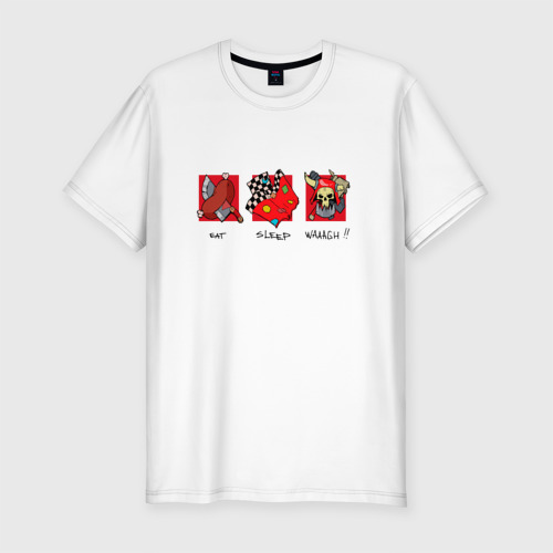 Мужская футболка премиум с принтом Ешь, спи, WAAAAGH, вид спереди #2