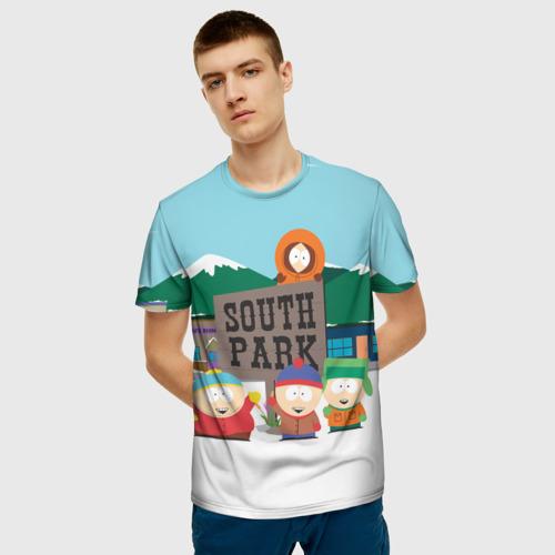 Мужская 3D футболка с принтом ЮЖНЫЙ ПАРК   SOUTH PARK (Z), фото на моделе #1