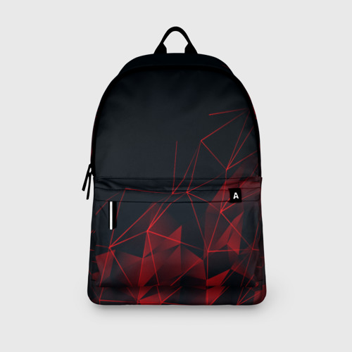 Рюкзак 3D с принтом RED STRIPES | КРАСНАЯ ГЕОМЕТРИЯ, вид сбоку #3