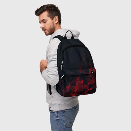 Рюкзак 3D с принтом RED STRIPES | КРАСНАЯ ГЕОМЕТРИЯ, фото на моделе #1