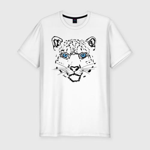 Мужская футболка премиум с принтом Снежный барс, вид спереди #2