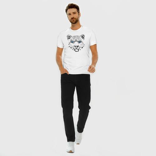 Мужская футболка премиум с принтом Снежный барс, вид сбоку #3