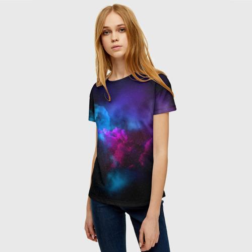 Женская 3D футболка с принтом НЕОН КОСМОС, фото на моделе #1
