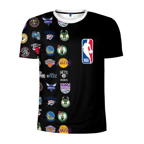 Мужская футболка 3D спортивная с принтом NBA (Team Logos 2), вид спереди #2