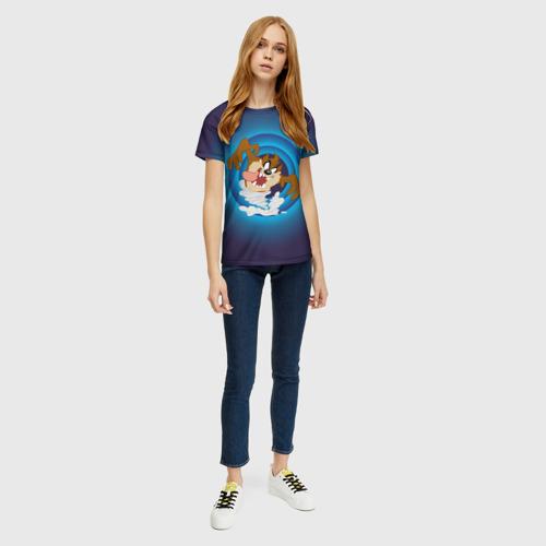 Женская 3D футболка с принтом Таз, вид сбоку #3