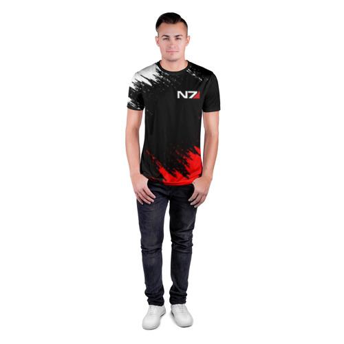 Мужская футболка 3D спортивная с принтом MASS EFFECT N7 / МАСС ЭФФЕКТ Н7 БРЫЗГИ КРАСОК, вид сбоку #3