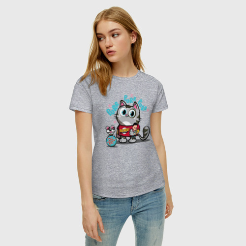 Женская футболка с принтом Purr Purr Purr, фото на моделе #1