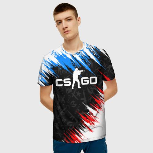 Мужская 3D футболка с принтом CS GO, фото на моделе #1