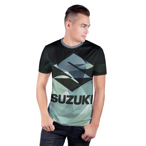 Мужская футболка 3D спортивная с принтом SUZUKI (5), фото на моделе #1