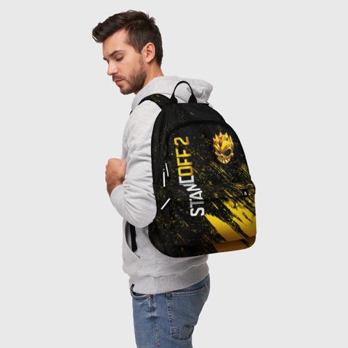 Рюкзак 3D с принтом STANDOFF 2 GOLD SKULL, фото на моделе #1
