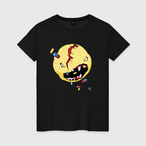 Женская футболка с принтом CYBERPUNK 2077 SMILE | КИБЕРПАНК СМАЙЛ, вид спереди #2