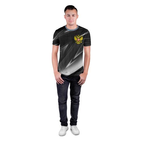 Мужская футболка 3D спортивная с принтом РОССИЯ, вид сбоку #3