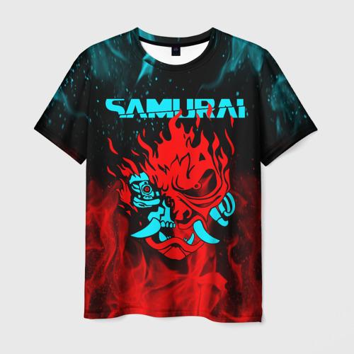 Мужская 3D футболка CYBERPUNK 2077 SAMURAI