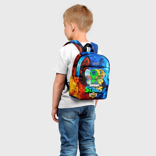 Детский рюкзак 3D с принтом BRAWL STARS LEON TRIO   БРАВЛ СТАРС ЛЕОН ТРИО, фото на моделе #1