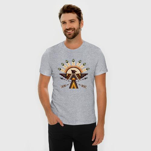 Мужская футболка премиум с принтом Индейские мотивы, фото на моделе #1