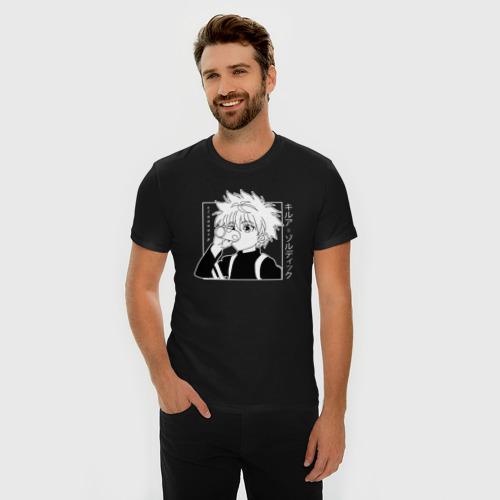 Мужская футболка премиум с принтом Киллуа хантер, фото на моделе #1