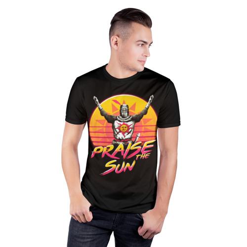 Мужская футболка 3D спортивная с принтом PRAISE THE SUN, фото на моделе #1