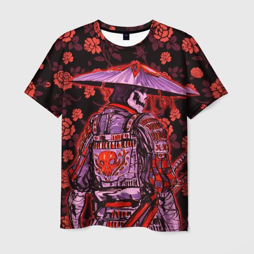 Мужская 3D футболка Самурай в розах