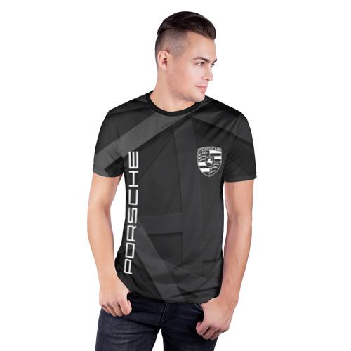 Мужская футболка 3D спортивная с принтом PORSCHE, фото на моделе #1