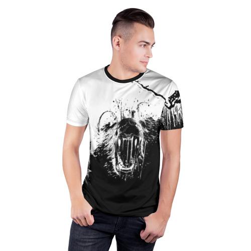 Мужская футболка 3D спортивная с принтом BEAR | Медведь, фото на моделе #1