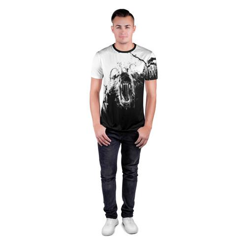 Мужская футболка 3D спортивная с принтом BEAR | Медведь, вид сбоку #3