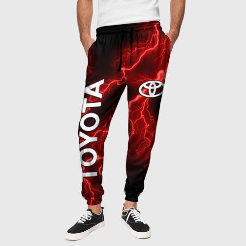 Мужские брюки 3D с принтом TOYOTA, вид сбоку #3
