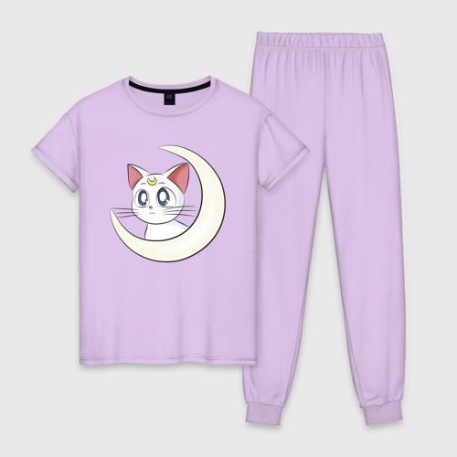 Женская пижама хлопок с принтом Artemis moon, вид спереди #2