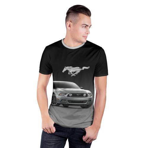 Мужская футболка 3D спортивная с принтом Mustang, фото на моделе #1