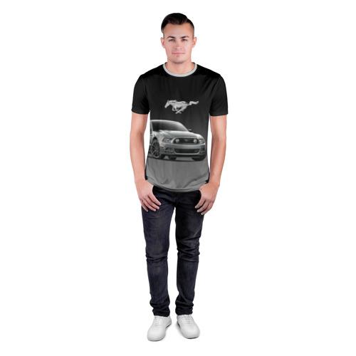 Мужская футболка 3D спортивная с принтом Mustang, вид сбоку #3