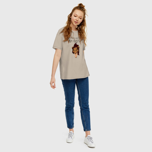 Женская футболка oversize с принтом Шрам, вид сбоку #3
