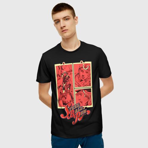 Мужская 3D футболка с принтом Steel Ball Run, фото на моделе #1