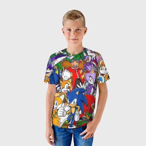 Детская 3D футболка с принтом Sonic, фото на моделе #1