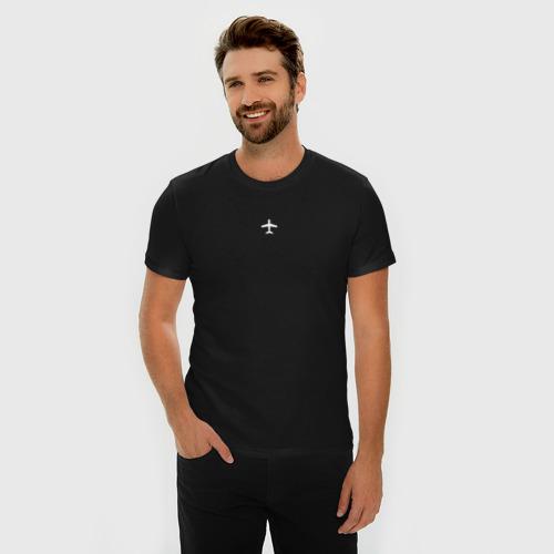 Мужская футболка премиум с принтом Самолет, фото на моделе #1