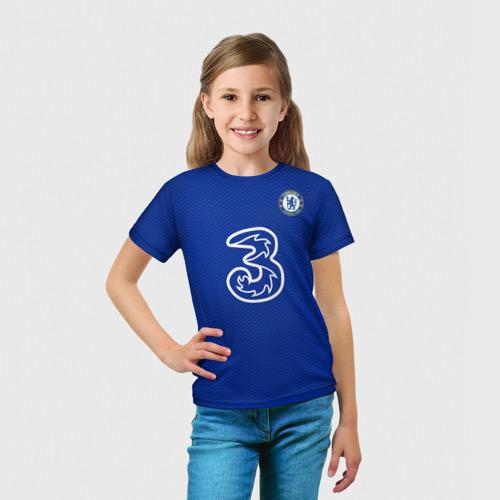 Детская 3D футболка с принтом Челси форма Хаверц 20-21, вид сбоку #3