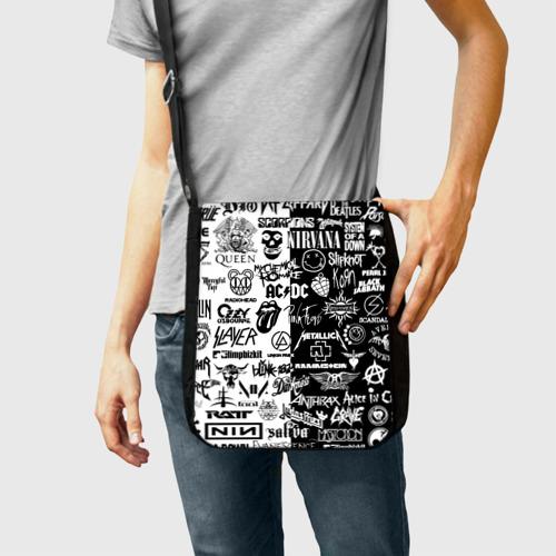 Сумка через плечо с принтом Эмблемы Рок Групп, фото на моделе #1
