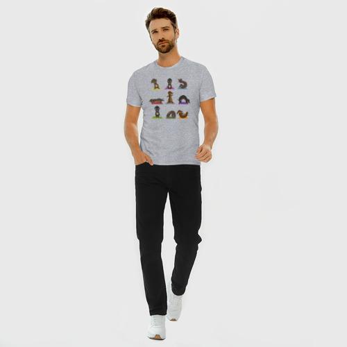 Мужская футболка премиум с принтом Таксы и йога, вид сбоку #3
