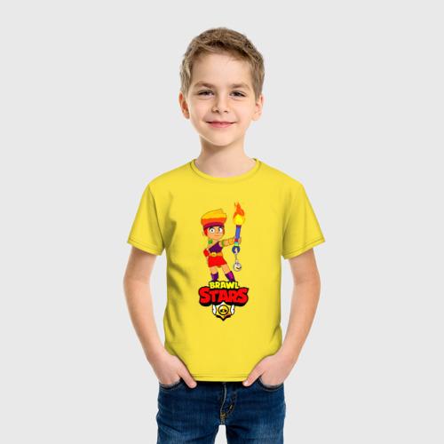 Детская футболка с принтом Brawl Stars/Amber, фото на моделе #1