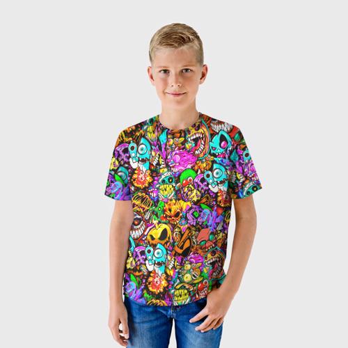 Детская 3D футболка с принтом STANDOFF 2 STICKERS, фото на моделе #1