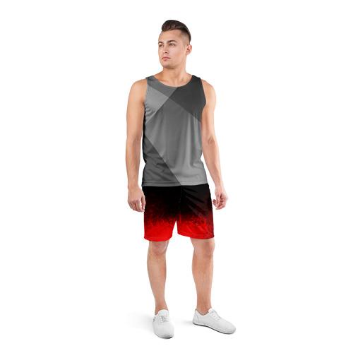 Мужские шорты 3D спортивные с принтом КРАСНО-ЧЕРНЫЙ ГРАДИЕНТ, вид сбоку #3