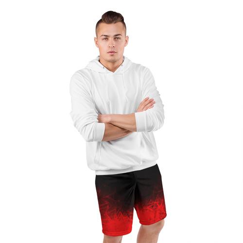 Мужские шорты 3D спортивные с принтом КРАСНО-ЧЕРНЫЙ ГРАДИЕНТ, фото #4