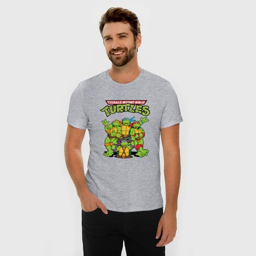 Мужская футболка премиум с принтом Черепашки ниндзя, фото на моделе #1