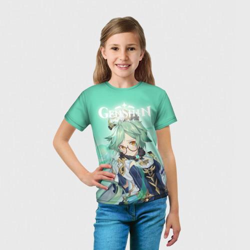 Детская 3D футболка с принтом Sucrose, вид сбоку #3