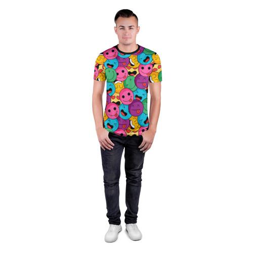 Мужская футболка 3D спортивная с принтом Pattern, вид сбоку #3