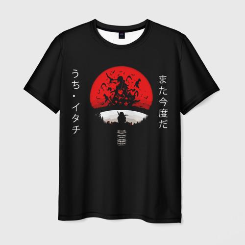 Мужская 3D футболка с принтом Итачи, вид спереди #2