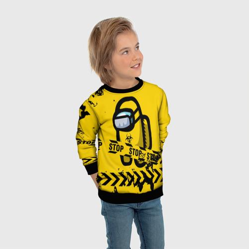 Детский 3D свитшот с принтом AMONG US - BIOHAZARD, вид сбоку #3