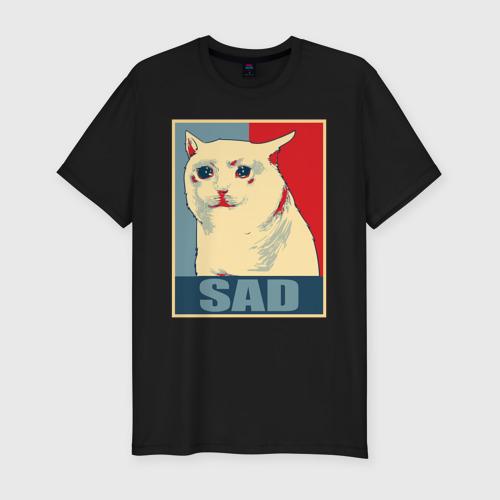 Мужская футболка премиум с принтом Sad Cat, вид спереди #2