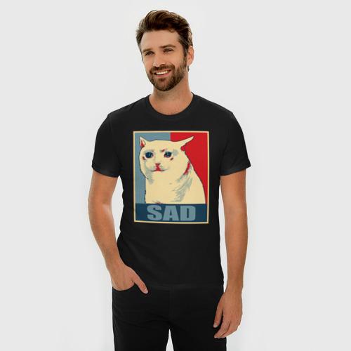 Мужская футболка премиум с принтом Sad Cat, фото на моделе #1