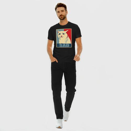 Мужская футболка премиум с принтом Sad Cat, вид сбоку #3